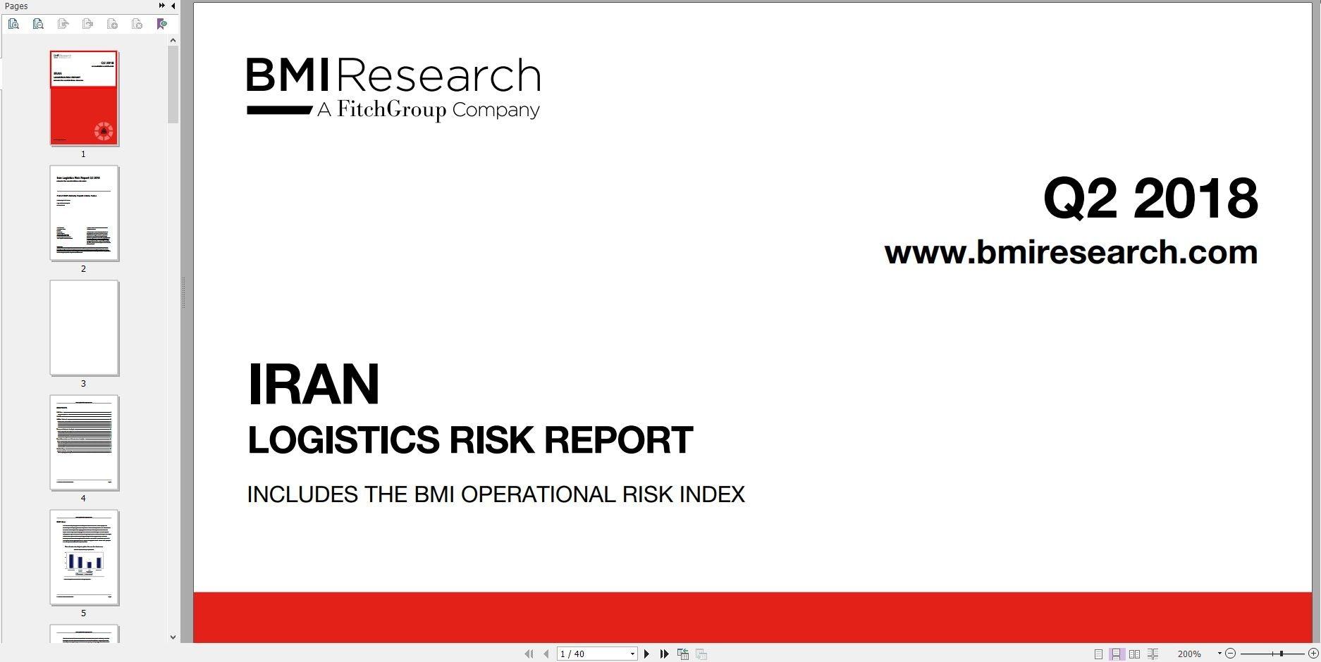 دانلود فایل گزارش BMI Iran Logistics Risk Report Q2 2018 خرید گزارش تحلیل ریسک لجستیک ایران گزارشات bmiresearch دانلود از Business Monitor Internationalگیگاپیپر