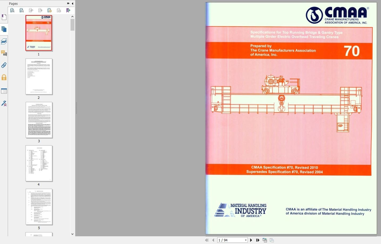 دانلود استاندارد CMAA 74-2010 دانلود استانداردهای انجمن تولید کنندگان جرثقیل آمریکا Download CMAA 74 PDF Specification for Top Running and Under Running گیگاپیپر