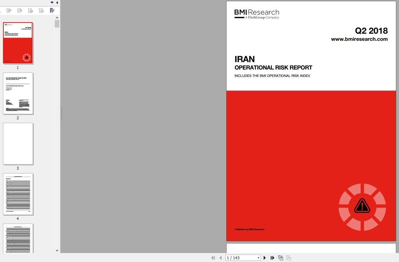 دانلود گزارش IRAN OPERATIONAL RISK REPORT گزارش تحلیل ریسک عملیاتی ایران خرید گزارش بیزینس مانیتور BusinessMonitor گزارشات BMI Research