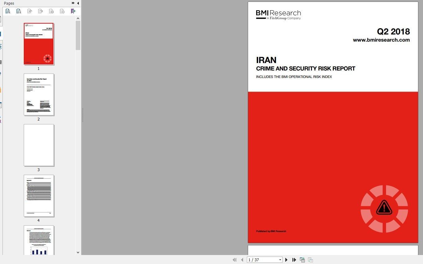 گزارش پیشبینی ریسک امنیت و جرائم در ایران دانلود IRAN CRIME AND SECURITY RISK REPORT گزارشات Business Monitor (BMI Research) Free Download Reports
