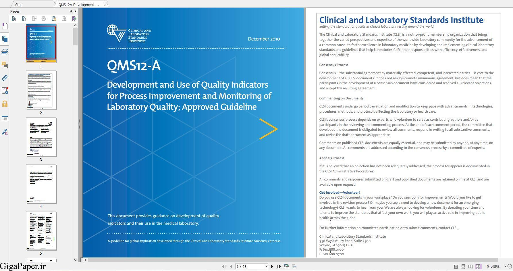 دانلود استاندارد CLSI QMS12 خرید استاندارد QMS12-A Development and Use of Quality Indicators for Process Improvement and Monitoring of Laboratory Quality گیگاپیپر