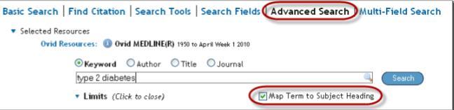 Example search in Ovid Medline گیگاپیپر