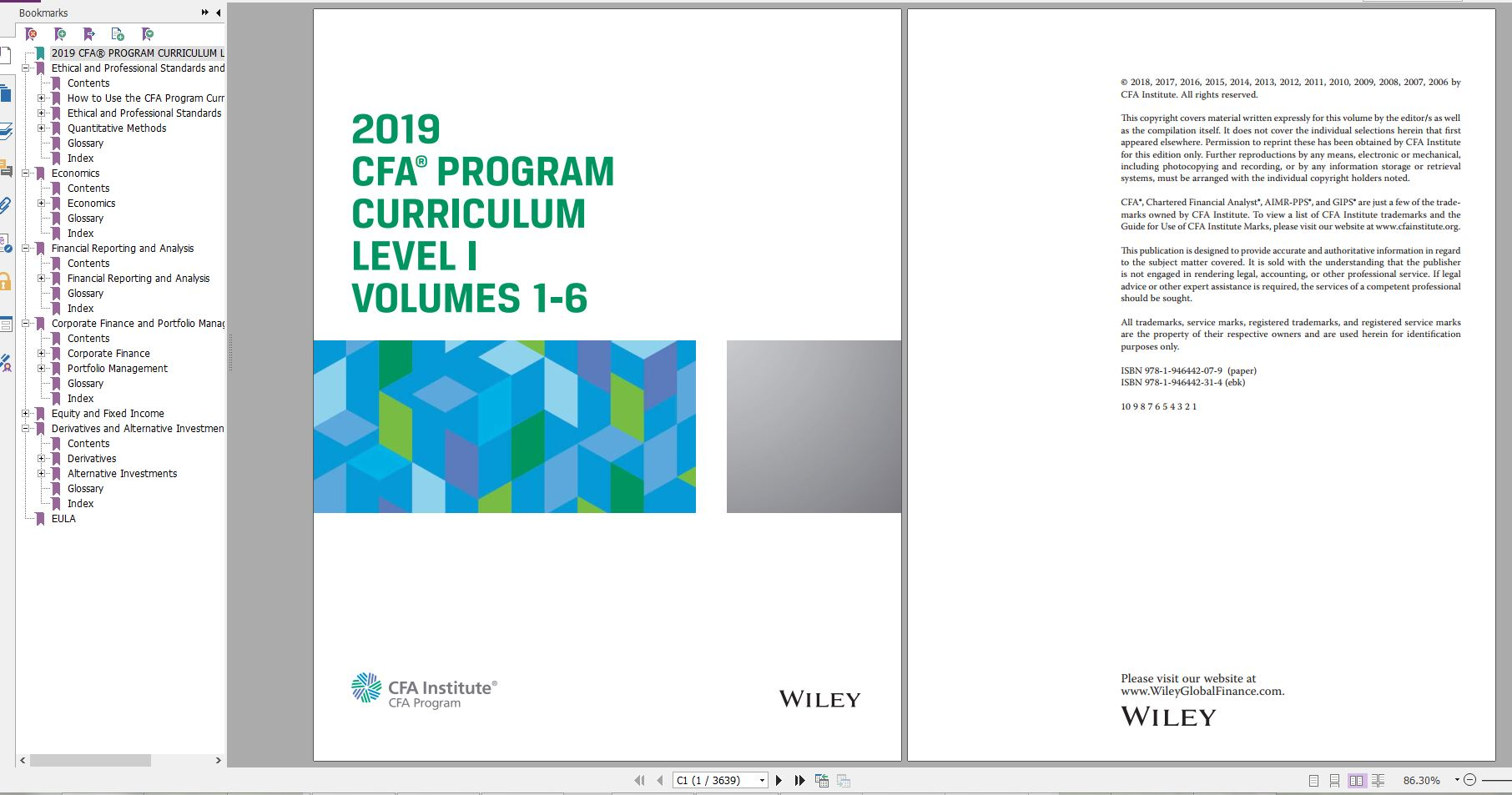 دانلود کتاب CFA Program Curriculum 2019 Level I Volumes 1-6