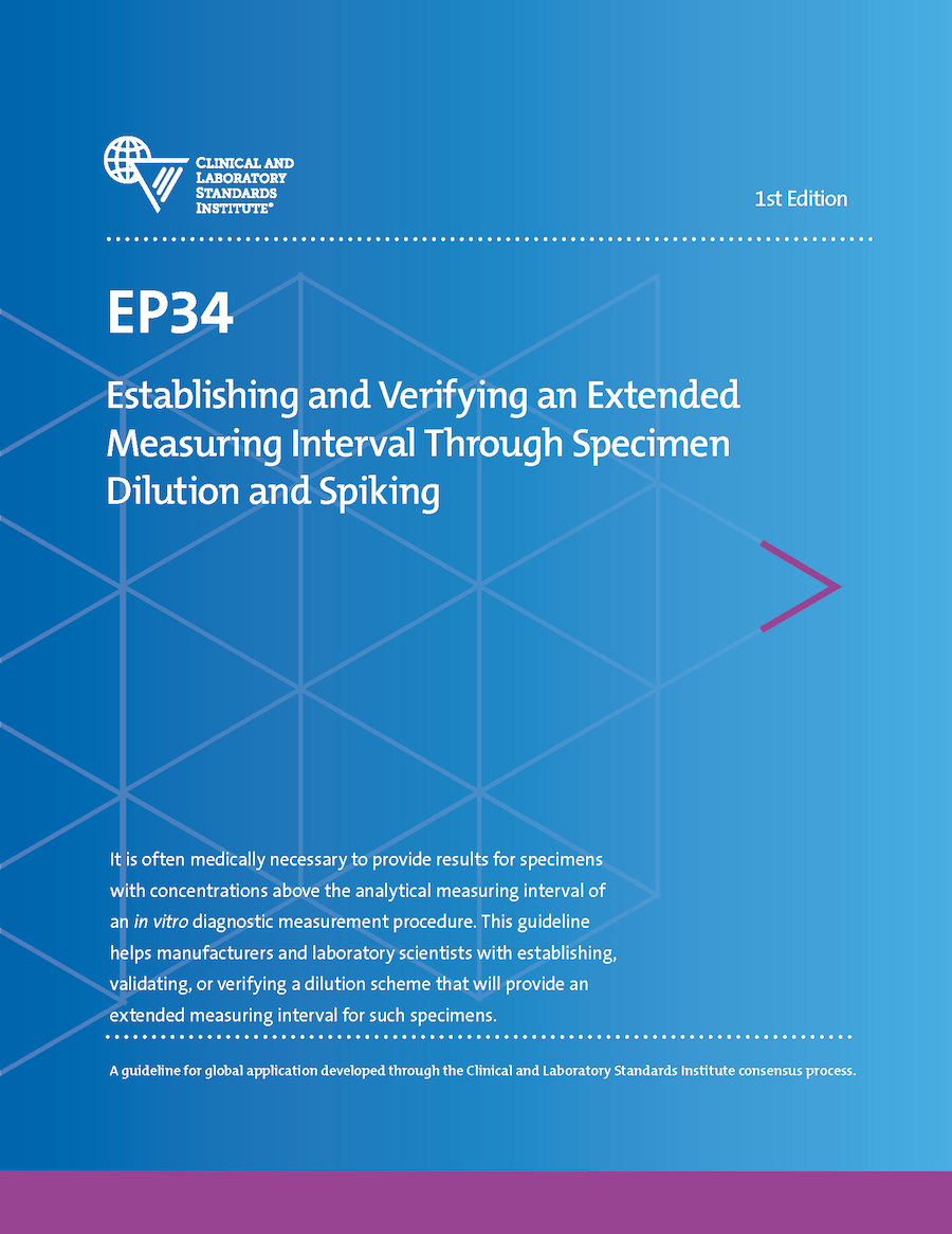 دانلود استاندارد EP34 Establishing and Verifying an Extended Measuring Interval Through Specimen Dilution and Spiking