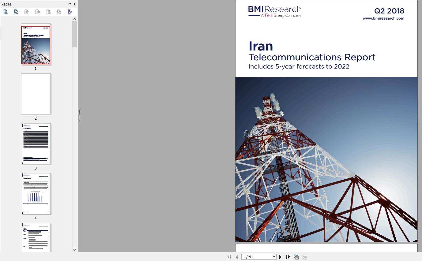 گزارش موسسه بیزینس مانیتور BMI Iran Telecommunications Report Q2 2018